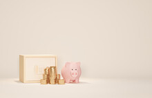 Piggy Bank, Safe Box And Golden Stack Coins Of Growing Graph On Pastel Background. Financial Planning For The Future. Earning, Saving And Investing Money Concept. 3d Render