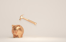 Broken Piggy Bank With Hammer On Pastel Background. Financial Planning For The Future. Earning, Saving And Investing Money Concept. 3d Render