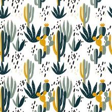 Hand Drawn Desert Cactus Vector Seamless Pattern.  Fresh Summer Vector Print For Home Decor