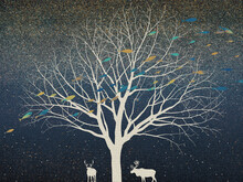 White Outline Of A Large Tree And Two Deer And Colorful Abstract Fish On A Background Of The Night Sky