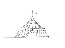 Single Continuous Line Drawing Circus Tent In The Shape Of A Triangle With Stripes And A Flag At The Top. Show Place For Clowns, Magicians, Animals. One Line Draw Graphic Design Vector Illustration.