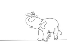 Single One Line Drawing Of An Elephant Performs A Circus Show By Turning A Circle Using Its Trunk. Cute Animal Which Is Very Attractive. Modern Continuous Line Draw Design Graphic Vector Illustration.