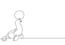 Single Continuous Line Drawing A Sea Lion Playing A Stunt With A White Ball In Its Mouth. Sea lions Are Highly Trained In Performance. Dynamic One Line Draw Graphic Design Vector Illustration.