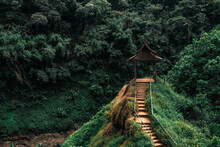 Road To The Beautiful Wooden Viewpoint In The Fresh Green Forest In Indochina. Tad Yuang Waterfall, Pakse, Bolaven Plateu, Laos
