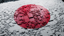 Japanese Colors Rendered As Futuristic 3D Blocks. Japan Network Concept. Tech Background.