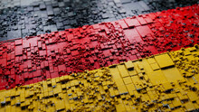 Colors Of Germany Rendered In A Futuristic 3D Style. German Innovation Concept. Tech Background.