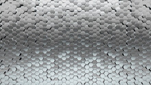 Silver, Polished Wall Background With Tiles. Hexagonal, Tile Wallpaper With Luxurious, 3D Blocks. 3D Render