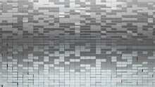 3D, Rectangle Wall Background With Tiles. Luxurious, Tile Wallpaper With Polished, Silver Blocks. 3D Render
