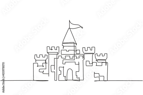 Slika na platnu Continuous one line drawing, a castle in an amusement park with five towers and one flag above it