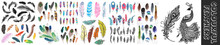 Vector Color Feathers Collection, Set Of Different Falling Fluffy Twirled Feathers, Isolated On White, Transparent Background. Realistic Style, Colorful Vector 3d Illustration.Realistic Bird Feathers.