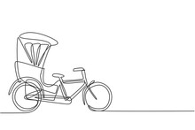 Single Continuous Line Drawing The Cycle Rickshaw Seen From The Side Pulls The Passenger Sitting Behind It With A Bicycle Pedal. Tourist Vehicle. One Line Draw Graphic Design Vector Illustration.