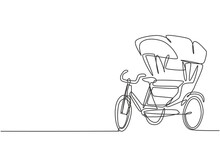 Single One Line Drawing Of Cycle Rickshaw With Three Wheels And A Rear Passenger Seat Is An Ancient Vehicle In Several Asian Countries. Modern Continuous Line Draw Design Graphic Vector Illustration.