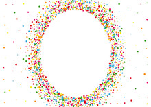 Yellow Confetti Spread Texture. Dot Random Background. Multicolored Event Circle. Blue Color Round Illustration.