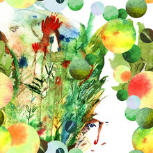 Watercolor Plants And Faces Seamless Pattern Illustration