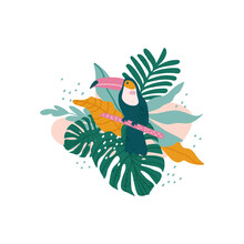 Toucan With Tropical Leaves, Monstera, Palm Leaves, Hibiscus, Vector
