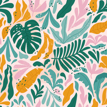 Tropical Seamless Pattern With Monstera And Exotic Leaves. Vector