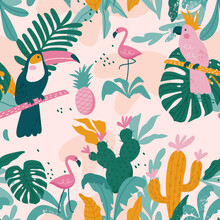 Tropical Seamless Pattern With Toucan, Flamingos, Parrot,  Cactuses And Exotic Leaves. Vector