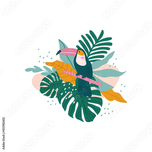 Leinwand Poster Toucan with tropical leaves, monstera, palm leaves, hibiscus, vector