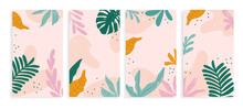 Design Backgrounds For Social Media Banner With Abstract Shapes And Tropical Leaves. Background Template With Space For Text. Vector