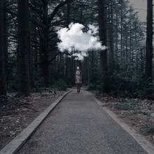 Digital Composite Image Of Person Standing By Trees In Forest