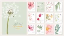 2022 Botanical Calendar Template. Calendar With Modern Abstract Transparent Flowers With Pastel Colors. Set For 2022 With 12 Pages For Each Month. Vector Illustration With Realistic Flowers And Leafs