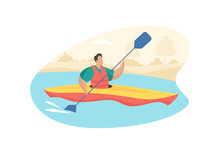 Tourist Paddle In Kayak. Active Recreation And Sports Rivers And Lakes. Man Life Jacket Paddles One Seater Canoe Through Water. Extreme Rafting Along Mountain River Flow. Vector Flat Concept Isolated