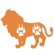 The Contour Image Of An Orange Lion On A White Background With The Placement Of White Paw Prints On The Predator's Body