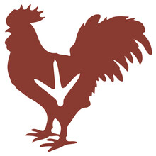 The Contour Image Of A Brown Rooster On A White Background With The Placement Of White Paw Prints On The Bird's Body