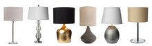 Collage With Different Stylish Night Lamps On White Background. Banner Design