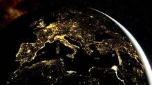 Europe From Space, Lights Of Europe From Space, Night Europe From Space 3d Render