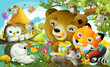 cartoon scene forest animals the forest eating honey