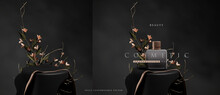 Dark Elegant Podium Scene For Product Presentation With Realistic Decorative Flowers And Branches Still Life Style. Professional Product Display Placement Template