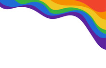 LGBT Rainbow Flat Wave Flag Flutter Of Lesbian, Gay, And Bisexual Colorful Concept Vector Background