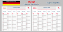 2022 Planner Calendar. Wall Organizer, Yearly Planner Template. Vector Illustration. Vertical Months. Two Boards. Set Of 12 Months. Clear Design. German Language. Copy Space For Graphic Or Picture.