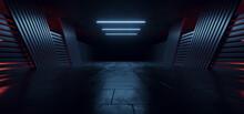 Realistic Alien Sci Fi Futuristic Concrete Asphalt Warehouse Spaceship Garage Hangar Parking Hallway Tunnel Corridor Blue Red Glowing Lights Background 3D Rendering