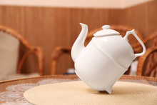 White Teapot For Traditional Ceremony On Table