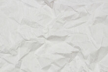 Light Gray Crumpled Wrapping Paper Texture Background, Top View