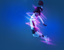 Young African Woman Basketball Player In Motion Isolated On Blue Studio Background In Neon Light With Geometric Luminescent Shapes, Stripes