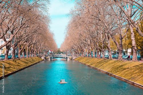 Canvas Canal on Konigsallee urban boulevard in Dusseldorf, Germany