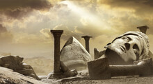3d Render Background Illustration Of Ancient Greek Temple Ruins With Female Goddess Statue With Clouds And Sun Ray.