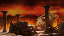 3d Render Background Illustration Of Ancient Greek Temple Ruins With Female Goddess Statue, Rocks And Columns Burning On Dark War Backdrop.