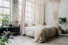 Boho Chic Bedroom With King Size Bed