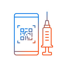 QR Code For Vaccination Gradient Linear Vector Icon. Smartphone Pass For Vaccinated. Mobile ID For Covid Treatment. Thin Line Color Symbols. Modern Style Pictogram. Vector Isolated Outline Drawing