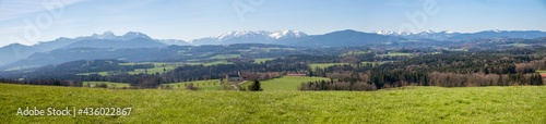 Fotografiet wide mountain panorama, view from Irschenberg hill to bavarian alps and rural la