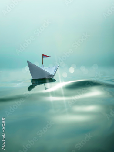 Canvas Print Eine Reise mit dem Papierschiff