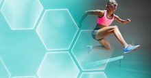 Composition Of Female Athlete Hurdle Jumping With Blue Hexagons