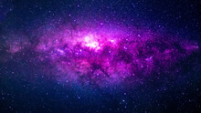 Astrophotography Of Visible Milky Way Galaxy. Stars, Space, Nebula And Stardust At A Starry Night Sky Of Brazil