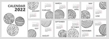 Calendar Or Planner 2022 Trendy Hand Drawn Abstract Zentangle Circles. Cover And Monthly Pages Starts Monday