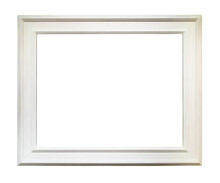 Wide White Wooden Picture Frame Cutout