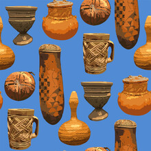 Seamless Pattern Of Traditional African Vintage Vases.